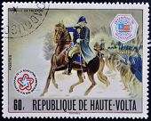 BURKINA FASO - CIRCA 1976: stamp printed in Burkina Faso shows Washington at Battle of Trenton