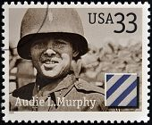 Stamps printed in USA dedicated to Military or Armed Forces shows Audie L. Murphy