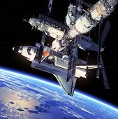stock photo of starship  - Space Shuttle And Space Station - JPG