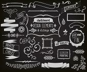 stock photo of chalkboard  - Chalkboard Design Elements and Etchings  - JPG