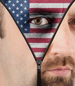 Unzipping Face To Show Flag Of Usa