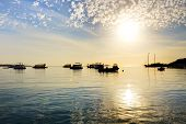 Sunrise At Naama Bay, Red Sea And Motor Yachts, Sharm El Sheikh, Egypt