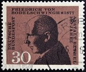 GERMANY - CIRCA 1967: a stamp printed in Germany shows Friedrich von Bodelschwingh Manager of Bethel