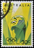 A stamp printed in Australia shows image of celebrating the 1984 Summer Olympics in Los Angeles