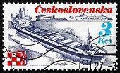 Postage Stamp Czechoslovakia 1989 Ship Trinec, Shipping Industry