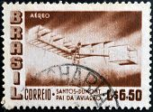 BRAZIL - CIRCA 1956: a stamp printed in Brazil shows Santos - Dumont 1906 Plane