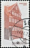 DENMARK - CIRCA 1972: A stamp printed in Denmark shows typical architecture Danish circa 1972