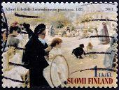 FINLAND - CIRCA 2004: stamp printed in Finland shows women in Luxembourg Garden of Albert Edelfelt