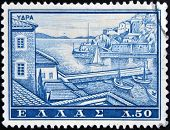 GREECE - CIRCA 1961: A stamp printed in Greece shows Port of Hydra circa 1961