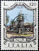 ITALY - CIRCA 1977: a stamp printed in Italy shows Palm Fountain Palmi circa 1977
