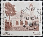 ITALY - CIRCA 2002: A stamp printed in Italy shows Sanctuary of Santa Maria delle Grazie - Spezzano