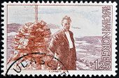 NORWAY - CIRCA 1976: a stamp printed in Norway shows Olav Duun novelist circa 1976