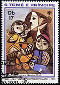 SAO TOME E PRINCIPE - CIRCA 1981: A stamp printed in Sao Tome shows draws by artist Picasso