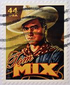 UNITED STATES OF AMERICA - CIRCA 2010: Stamp printed in USA shows silent film actor Tom Mix