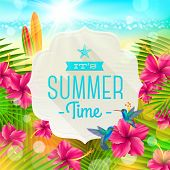 Banner with summer greeting, hummingbirds and hibiscus flowers against a  tropical  shore seascape with surfboards  - vector illustration