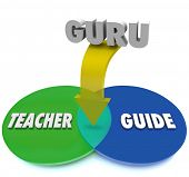 stock photo of guru  - Guru Venn Diagram Teacher Guide Combination - JPG