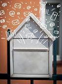 image of postbox  - Postbox with white hand drawn mail icons - JPG