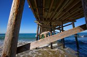 Newport pier beach in California USA seen from below