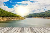 stock photo of hydro-electric  - wood bridge and Hydro Power Electric Dam in TakThailand - JPG