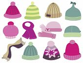 stock photo of knitted cap  - collection of caps - JPG