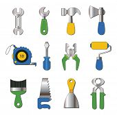 set of working tools icons