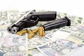 Gun With Bullet On Czech Banknotes