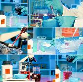 Researchers Work In Modern Scientific Lab, Collage. Preparation Of Hazardous Solution