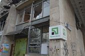 KIEV, UKRAINE -MAR 17, 2014  Downtown of Kiev Branch of Private-Bank after crush and robbery.  Riot