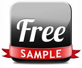 Free product sample offer or gratis download webshop button or web shop icon or sticker