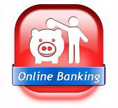 online banking money deposit on internet piggy bank account icon or button