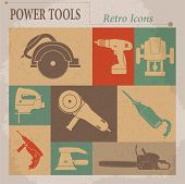 Electric tool flat vector retro icons