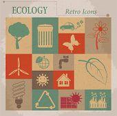 Ecology vector flat retro icons