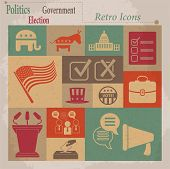 Election vector retro flat icons