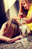 stock photo of depressed teen  - Teen alcohol addiction  - JPG