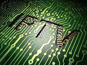 Web development concept: IPTV on circuit board background