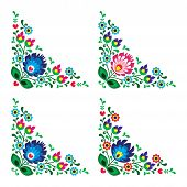 Corner border Polish floral folk embroidery pattern - wzory lowickie