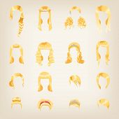 Set of female blonde haircuts