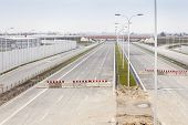 image of barricade  - Barricade on a highway stopping all vehicles - JPG