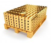 Pallet with gold bullions. 3d rendered illustration. Isolated on white background. Clipping path inc