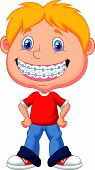 Little boy cartoon with brackets