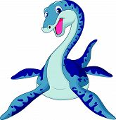 stock photo of terrific  - Vector illustration of Cute plesiosaurus cartoon isolated on white background - JPG
