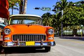 Classic American Car On South Beach, Miami.