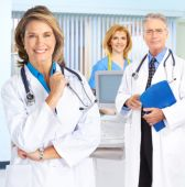 pic of medical doctors  - Smiling medical people with stethoscopes - JPG