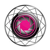 Stylized photography icon in pink and black