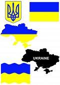 Ukrainian flag on country map vector illustration