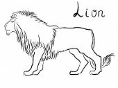 Black Graceful Lion Contour