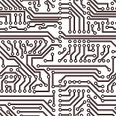 image of circuits  - Vector seamless simple circuit board technology pattern - JPG