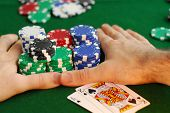 Poker player going