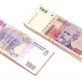 Two stacks of pesos.