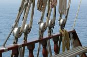 Detail Of Ropes And A Schooner Riggings